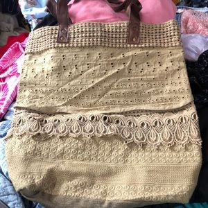 Mona B. Large Bag Lace leather handles